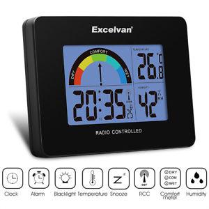 Reloj despertador con temperatura, humedad y radio controlada