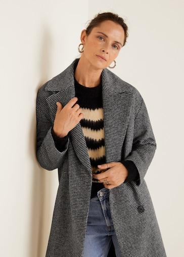 Abrigo lana solapas MANGO
