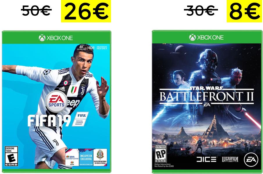 Chollazos para XBOX (Fifa 19 a 29€, NBA 2K19 a 26€, Star Wars BTII a 8€...)