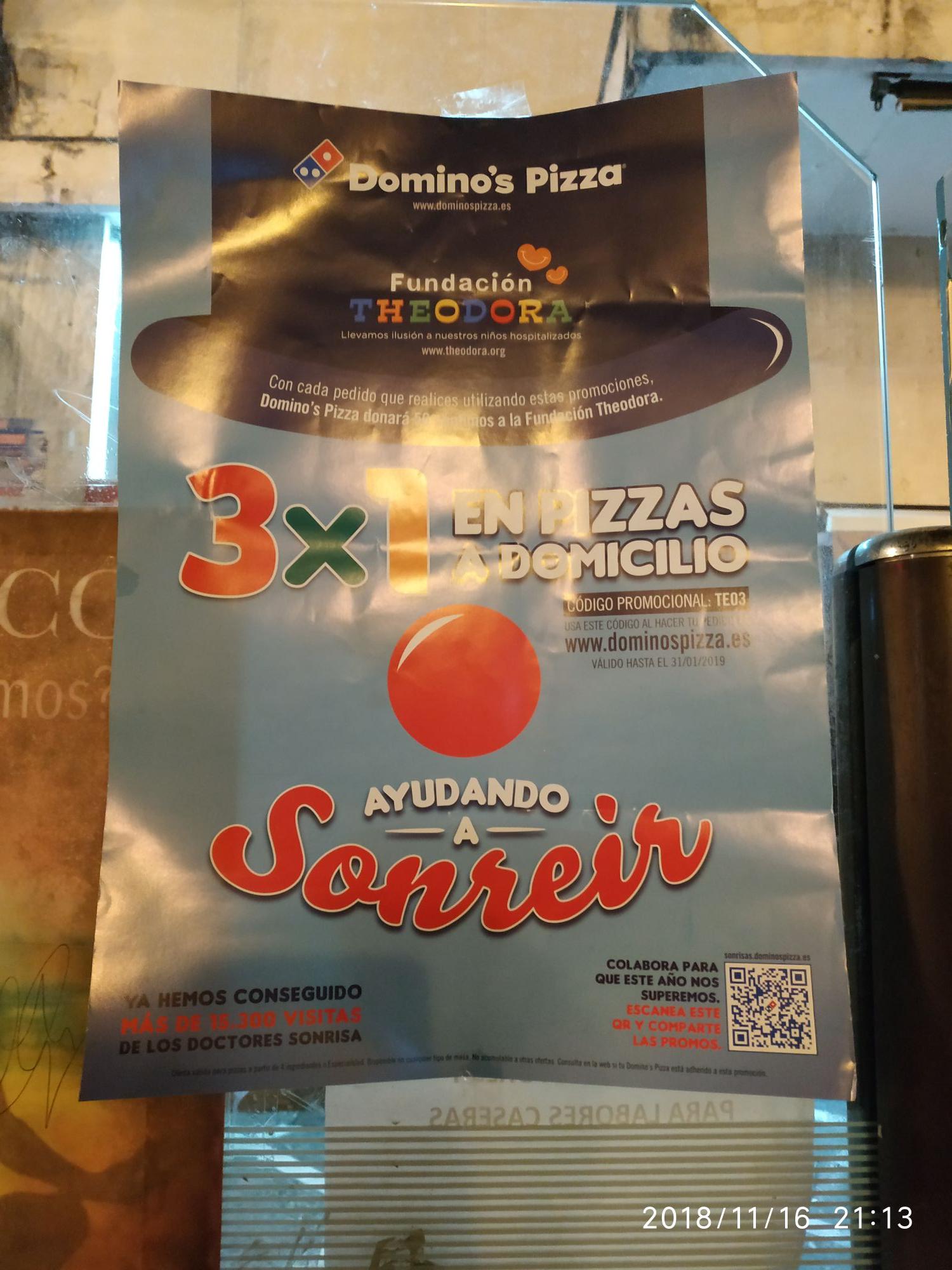 3x1 a domicilio en Domino's pizza