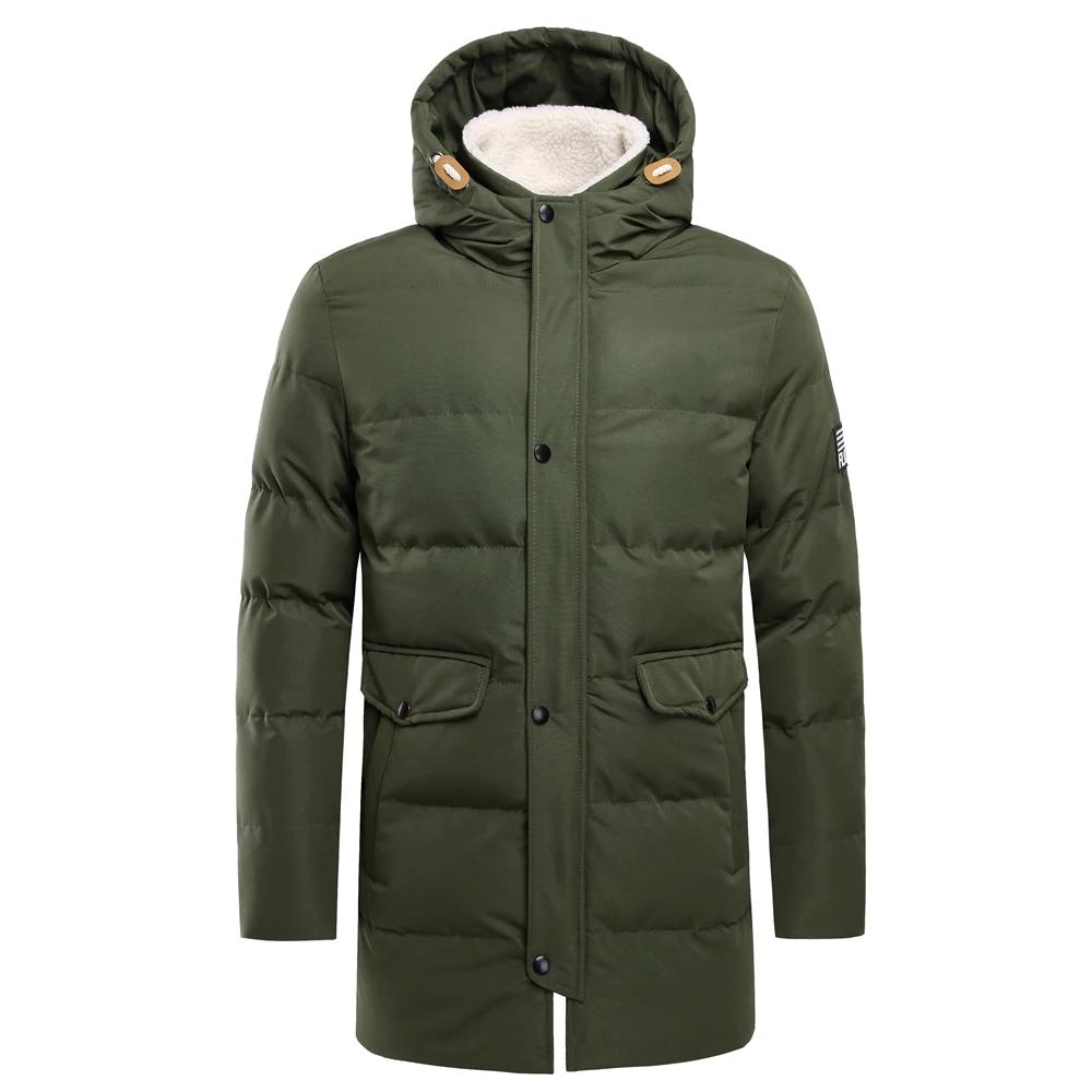 Oufisun Otoño Invierno Chaqueta larga de los hombres Parkas abrigo  Casual cálido de los hombres impermeable medio-largo abrigo grueso