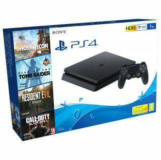 Consola PS4 1TB Con Resident Evil VII+Tom Raider+Ghost Recon+COD III. Negro