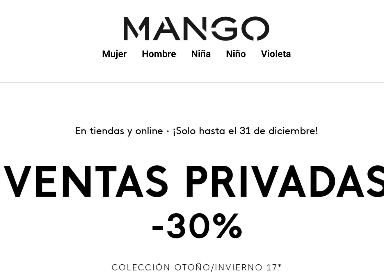 MANGO: 30% Dto. en vtas. privadas.