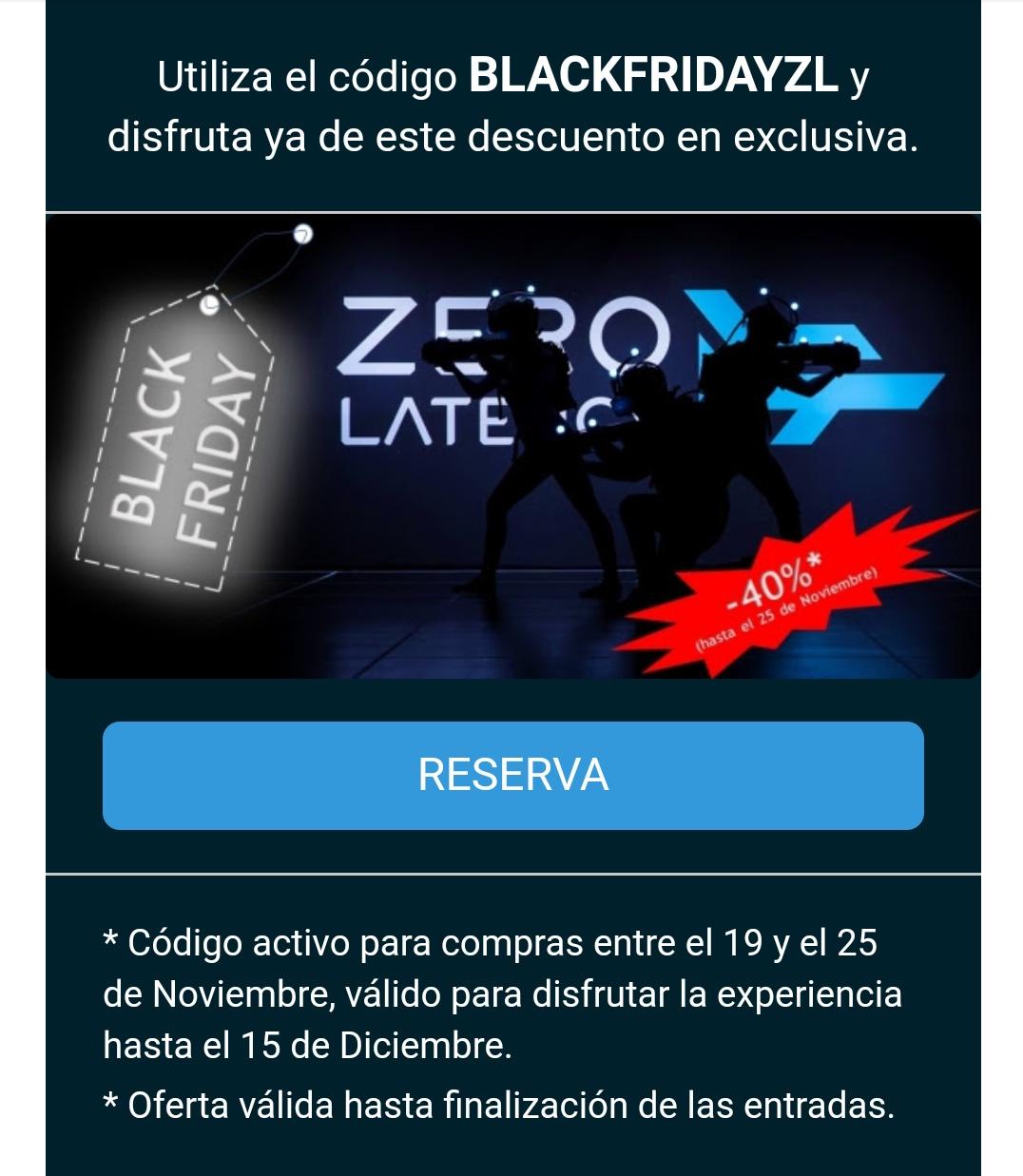 Descuento 40% en Zero Latency Madrid
