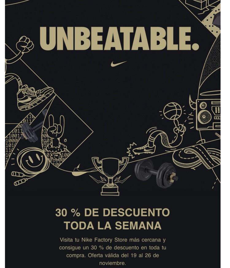 Nike outlet del 19 al 26 de Noviembre