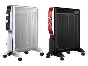 Radiador de Mica 2000 W color blanco o negro con ruedas