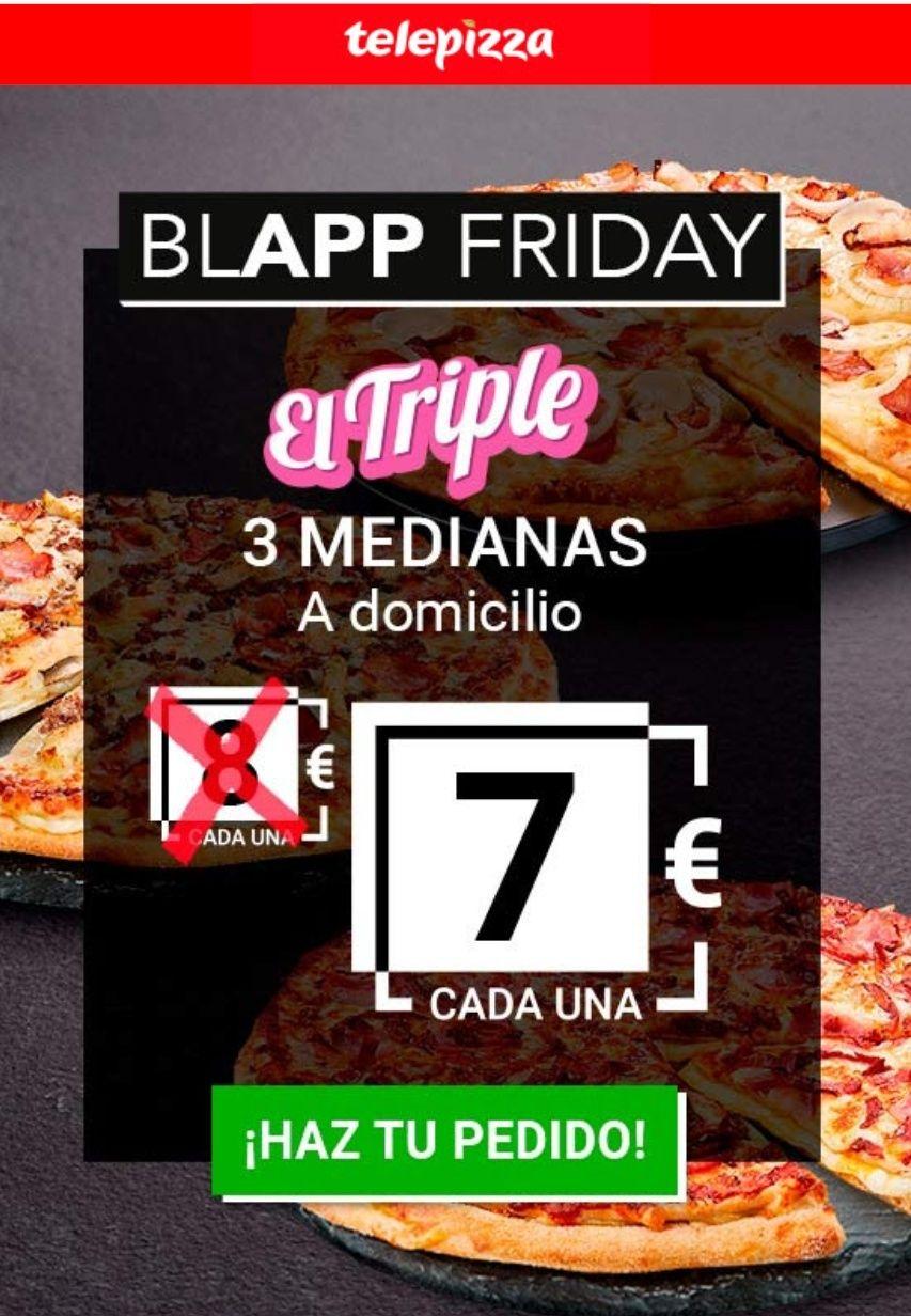 3 Pizzas a domicilio por 7€ cada una - Telepizza