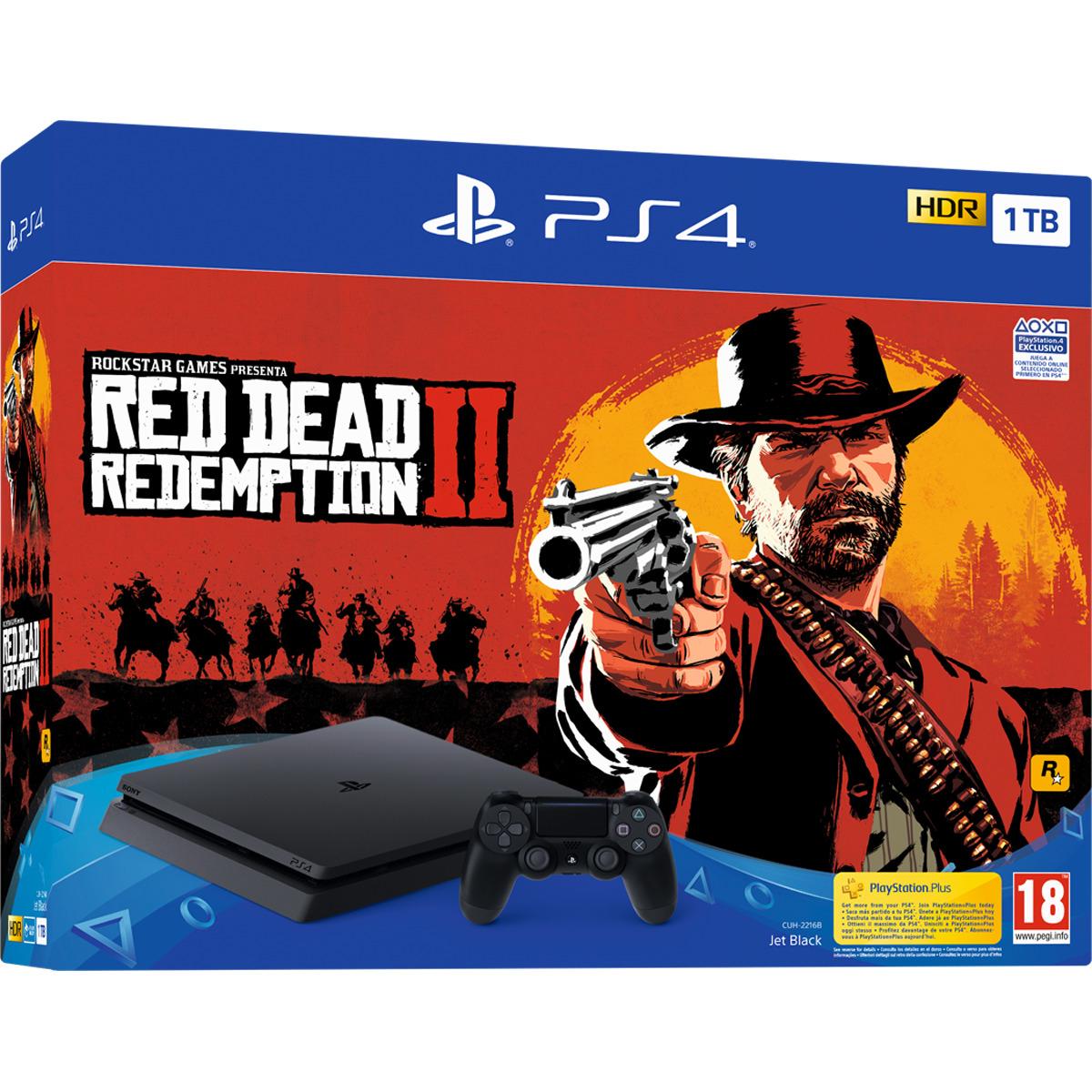 Consola PS4 Slim 1TB + Red Dead Redemption 2 + Spiderman descuento 10 €