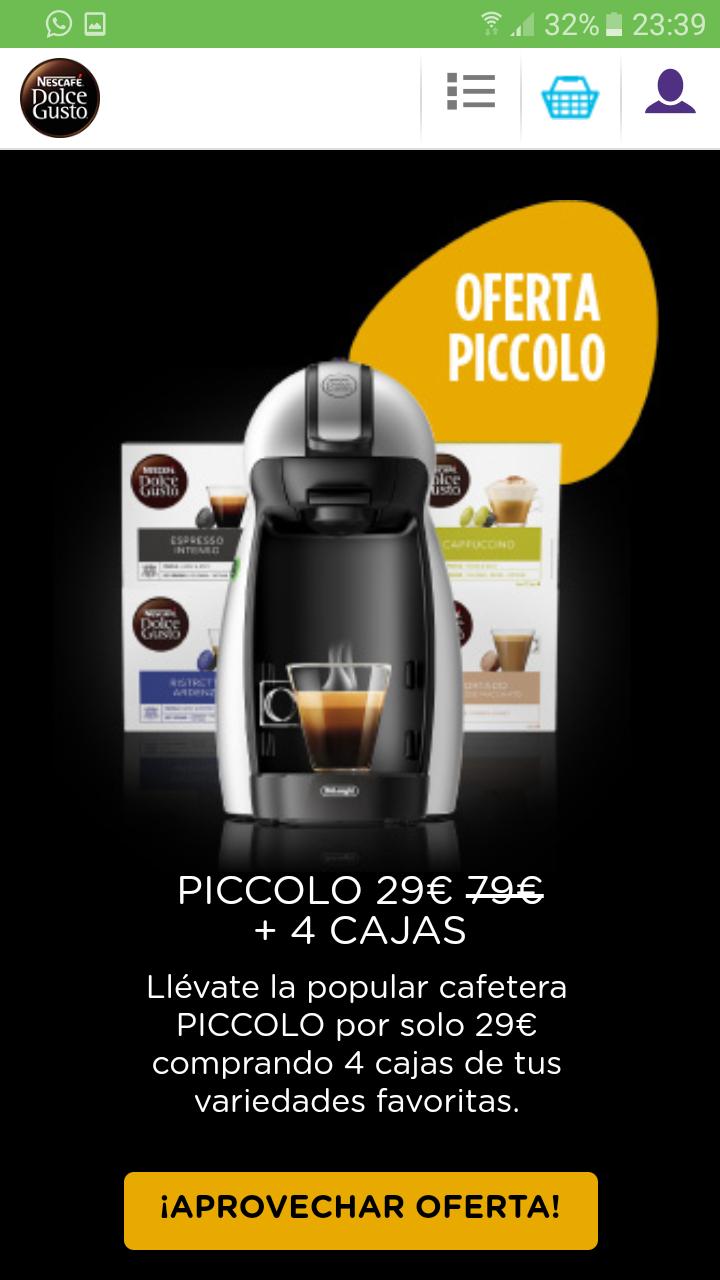 Cafetera Dolce Gusto a 29 euros comprando 4 cajas de café