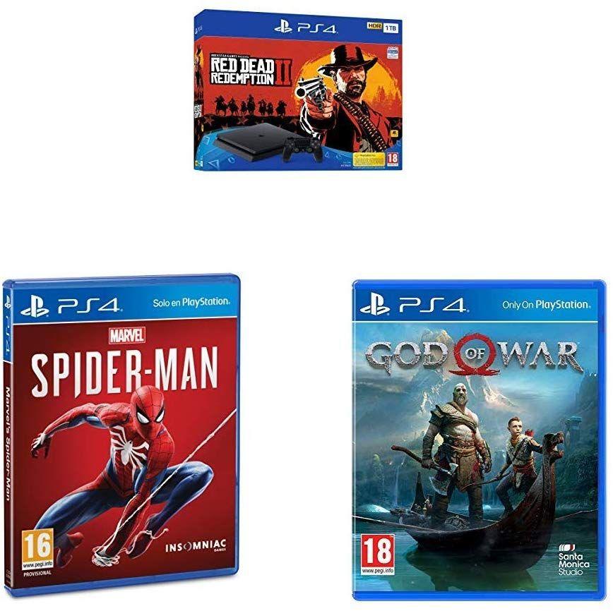 PS4 Slim 1TB + Red Dead Redemption II + Spiderman + God of War (Amazon)