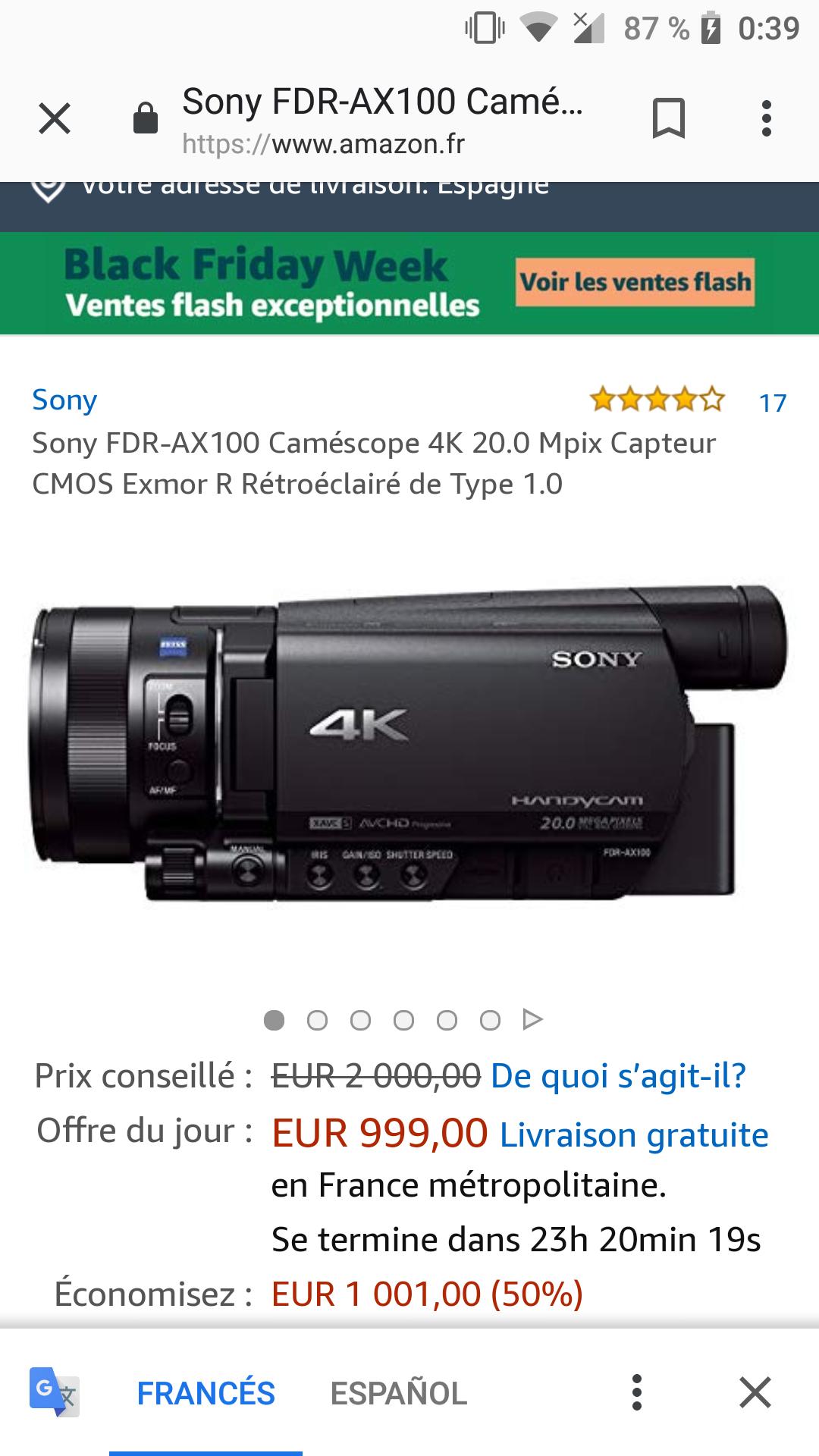 Cámara Sony fdr-ax100 4k