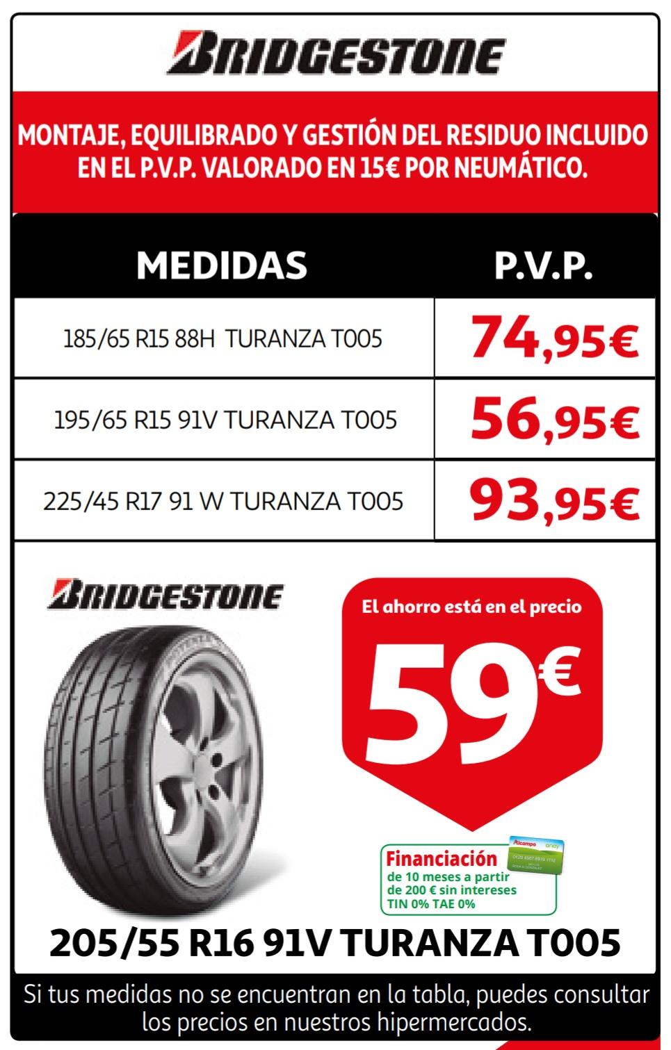 Neumáticos con montaje, equilibrado y ecotasa.