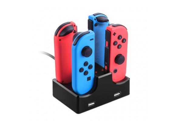 Nintendo Switch: Base de carga para 4 mandos Joy-Con + 2 USB