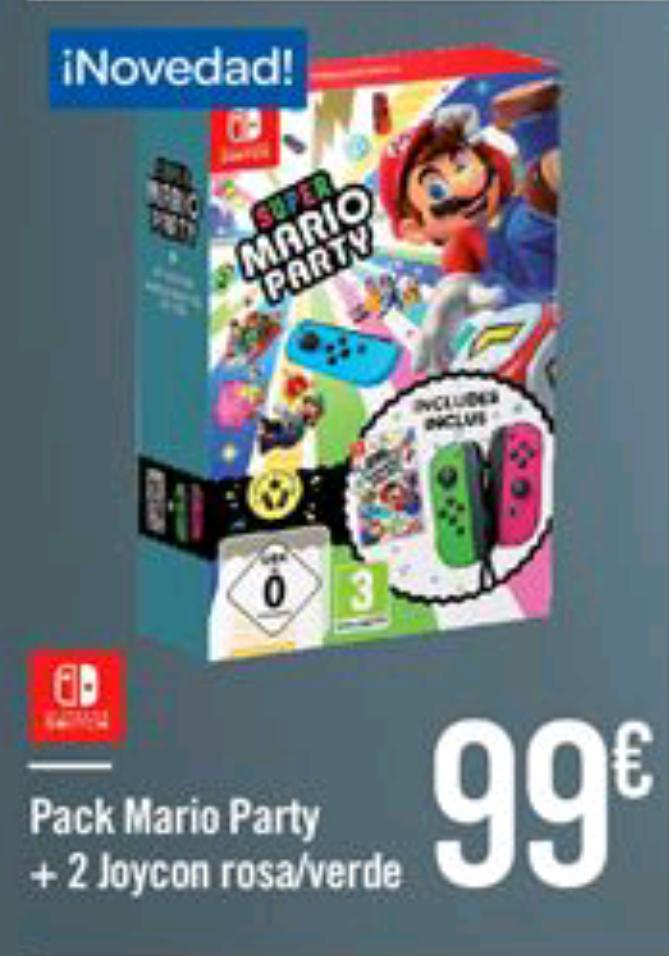 Pack Mario Party + 2 Joycon Rosa Verde por 99€