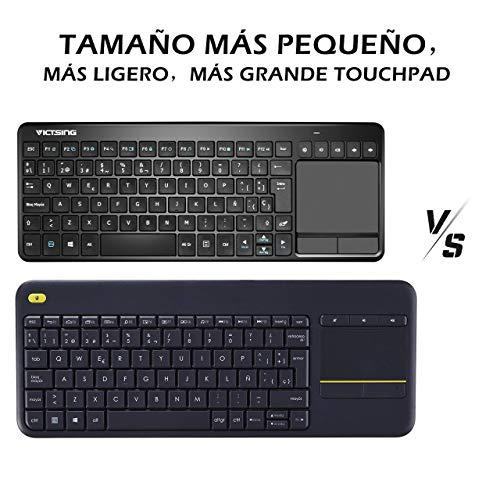 VICTSING Ultra Delgado Mini Teclado Inalámbrico Touchpad con 2.4G B Receptor, QWERTY Español Incluye Ñ