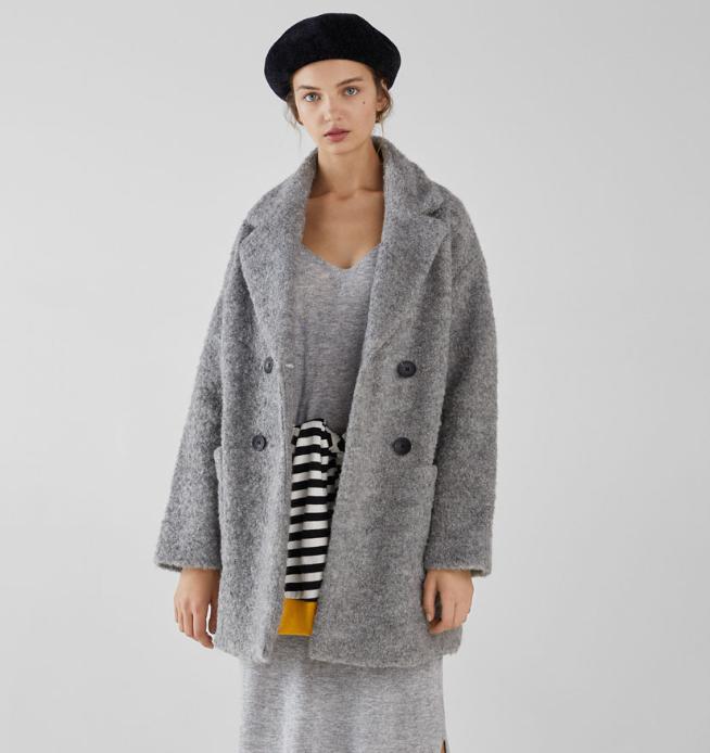 Abrigo de lana rizada BERSHKA 4 colores