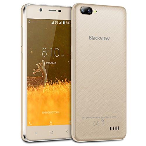 """Blackview A7 Smartphone Android 7.0 5.0 """"HD Quda-core teléfono inteligente MT6580A 1.3Ghz 1GB RAM + 8GB ROM 2MP cámara frontal 5MP + 0.3 doble cámara trasera 2800mAh batería-Oro"""