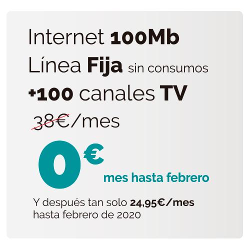 Fibra 100mb + fijo + 100 canales GRATIS!