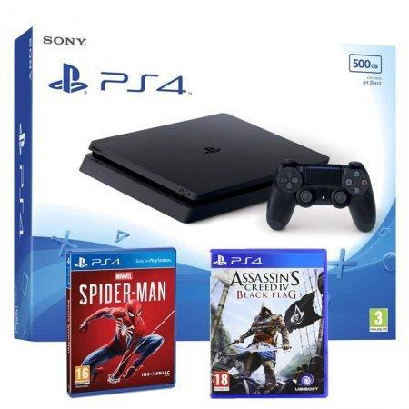 Sony PlayStation 4 Slim 500GB Negra + Spiderman + Assassin's Creed IV