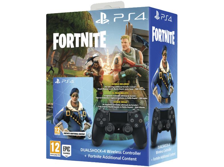 PS4 DUAL SHOCK BLACK + FORTNITE V2