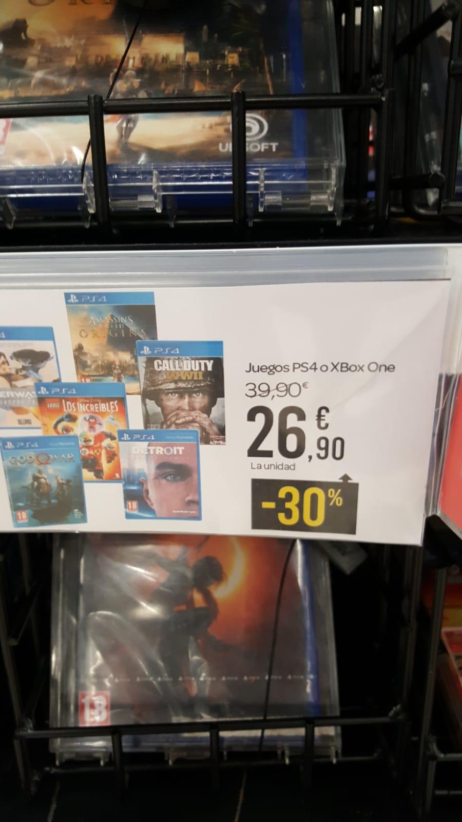 Juegos Ps4 o Xbox One a 26.90 visto en Carrefour Badajoz (Extremadura)