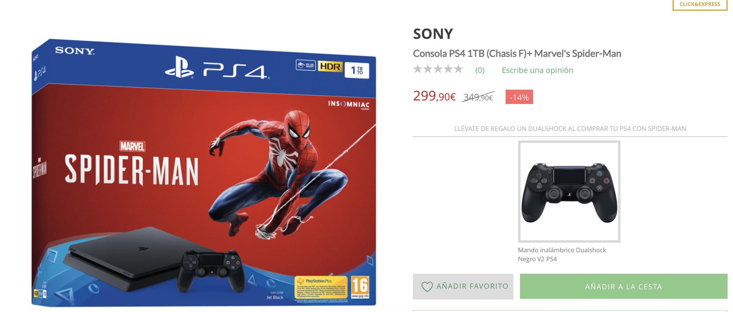 PS4 1TB + 2 Mandos + Spiderman