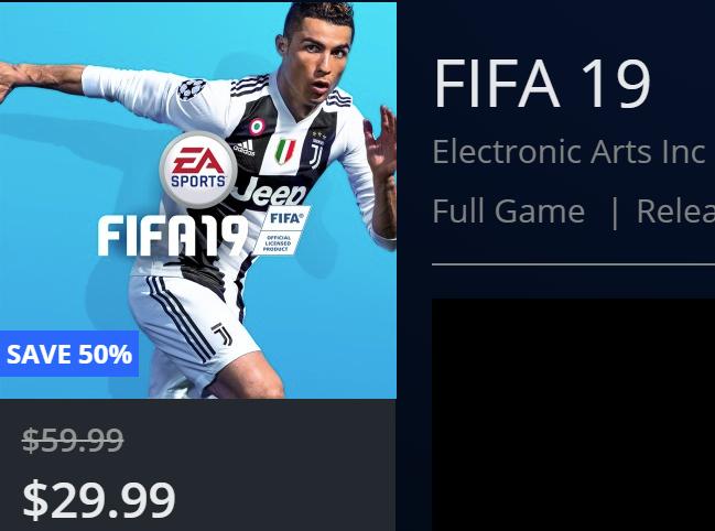 FIFA 19 PS4 a 30 dolares en PS store USA