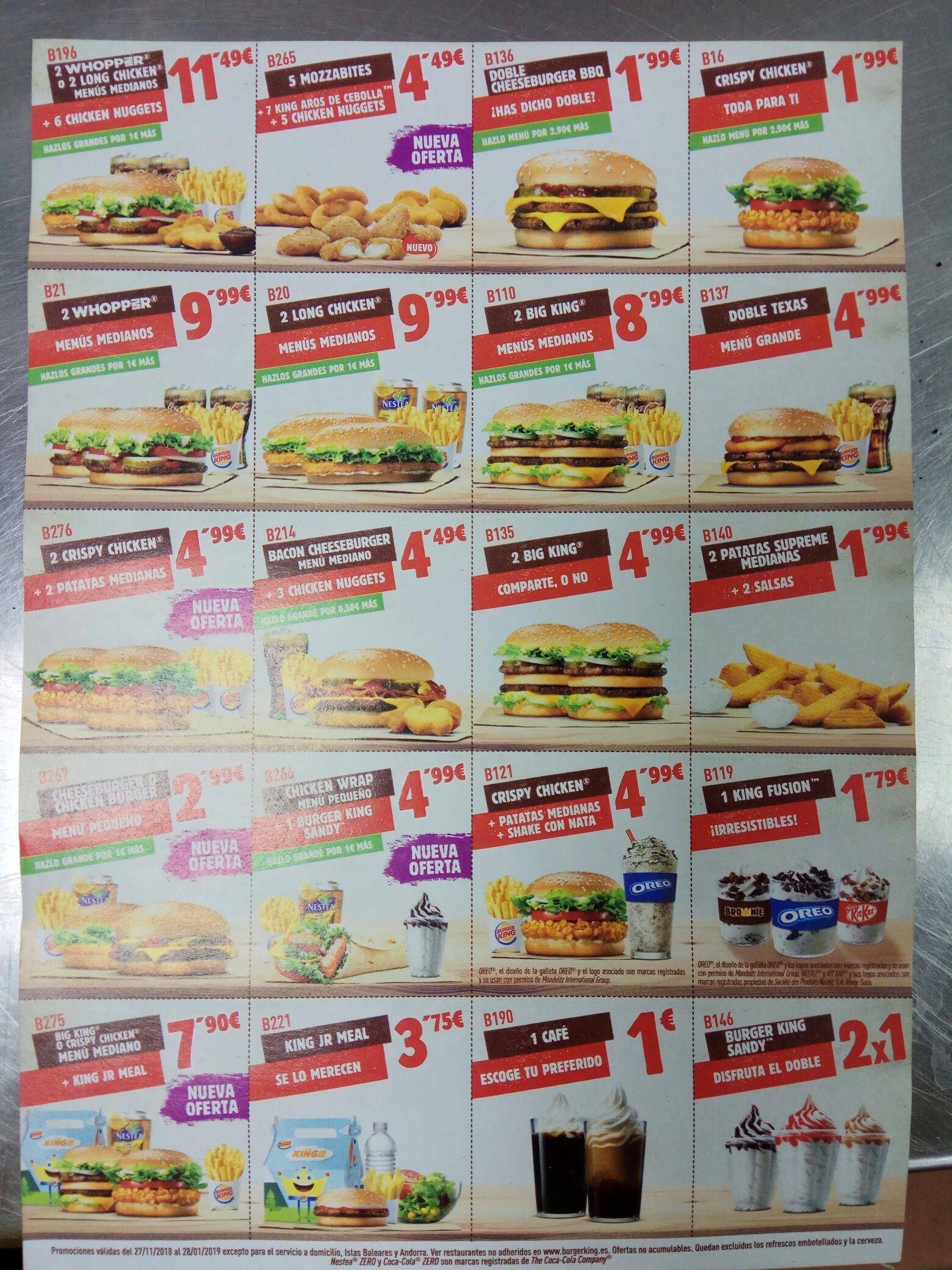 Cupones diciembre Burger King