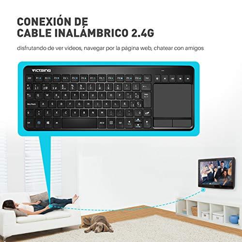 VICTSING Ultra Delgada Mini Teclado Inalámbrico Touchpad con 2.4G B Receptor, QWERTY Español