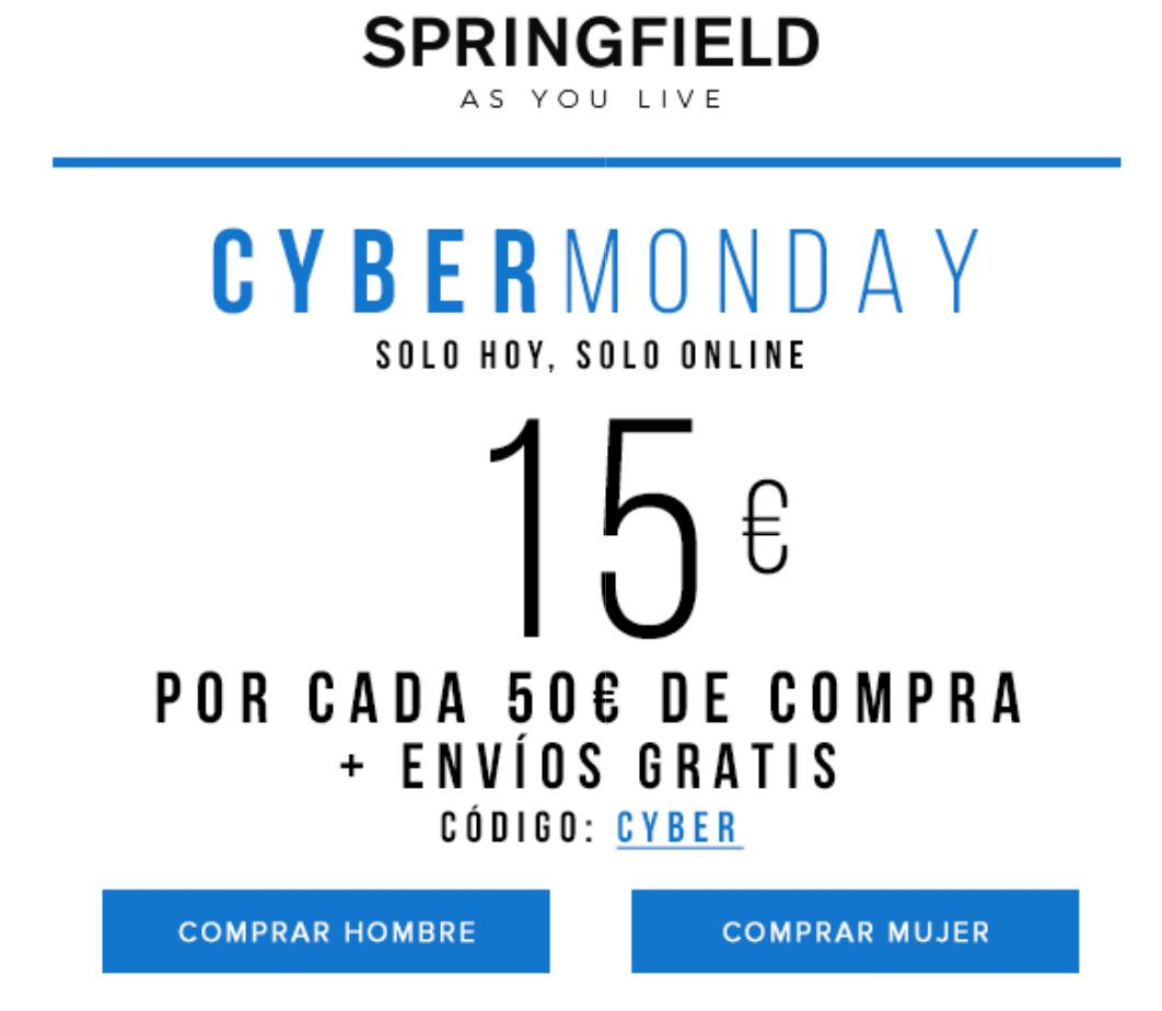 Springfield 15€ descuento X cada 50€