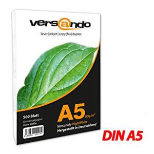 Detalles de  5000 FOLIOS PAPEL DIN A5 BLANCO 80G - Hojas ideal para impresora láser faxpapier