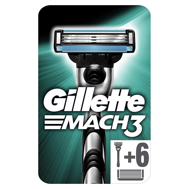 Gillette Mach3 - Maquinilla de afeitar + 6 cuchillas de recambios + 10€ descuento Amazon Pantry