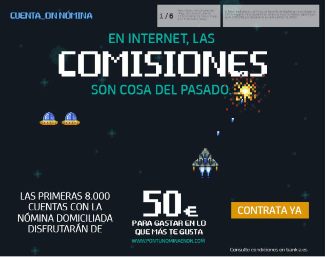 50€ gratis al contratar una cuenta nómina en Bankia online