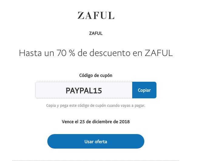 Hasta un 70 % de descuento en ZAFUL al pagar con Paypal