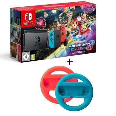Nintendo Switch + Mario Kart 8 Deluxe (Digital) + 2 volantes