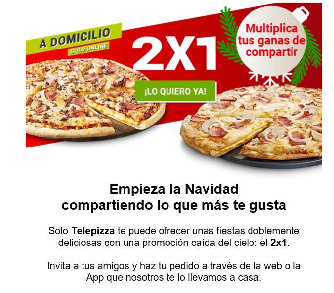 2 X1 en Telepizza a domicilio