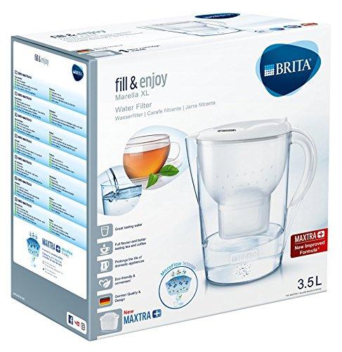 BRITA Marella XL Jarra Agua filtrada con 1 Filtro MAXTRA+, Blanco, 3.5 litros