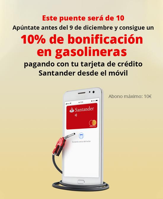 Banco Santander: Descuento 10% en gasolineras este puente