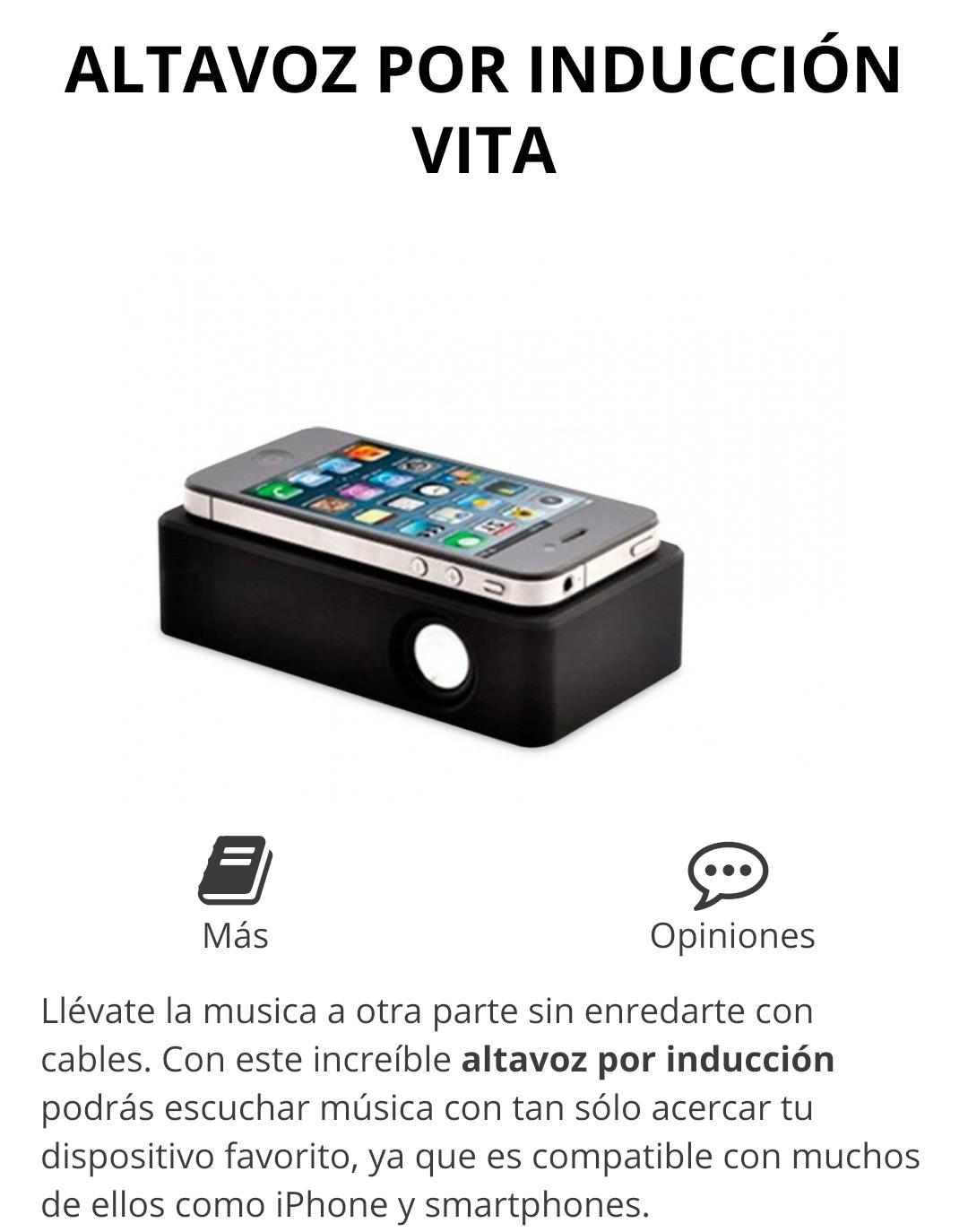 Altavoz por Inducción Vita. Escucha tu música solo acercando tú dispositivo, sin cables ni bluetooth
