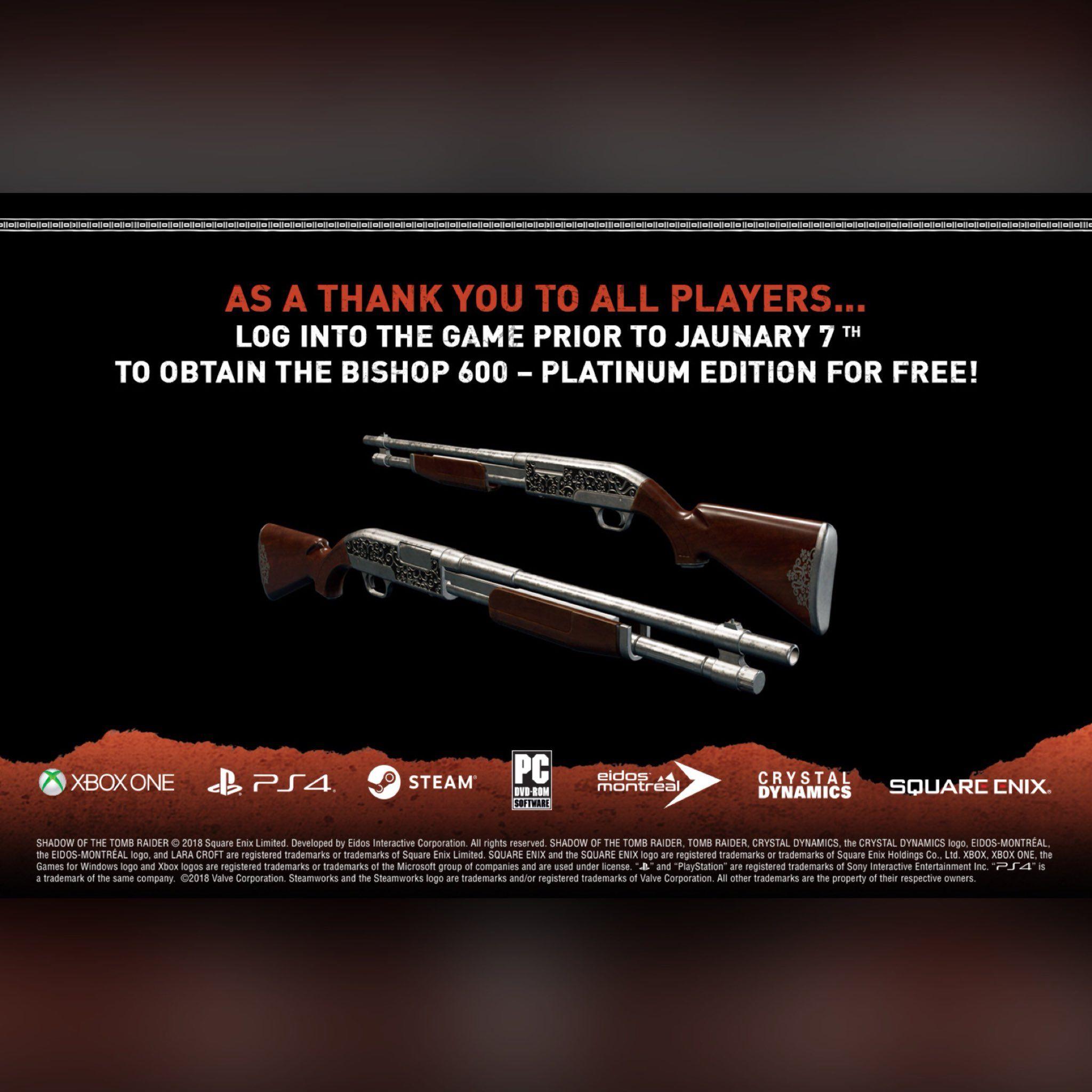 Platinum Bishop 600 GRATIS para Shadow of the Tomb Raider