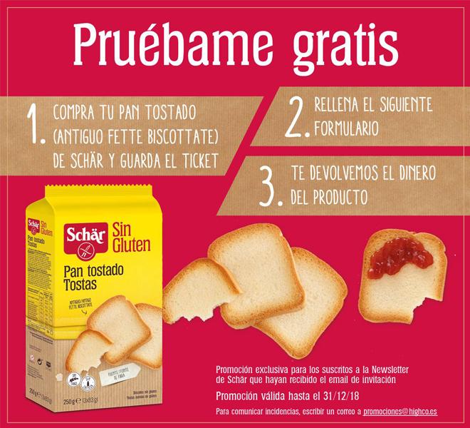 Reembolso de panes tostados marca Schär