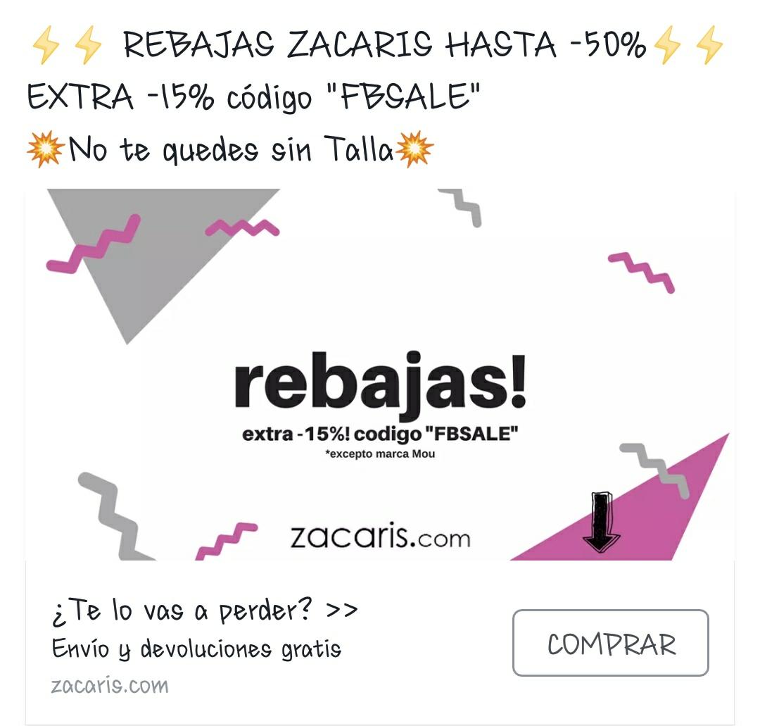 """REBAJAS ZACARIS HASTA -50% EXTRA -15% código """"FBSALE"""""""