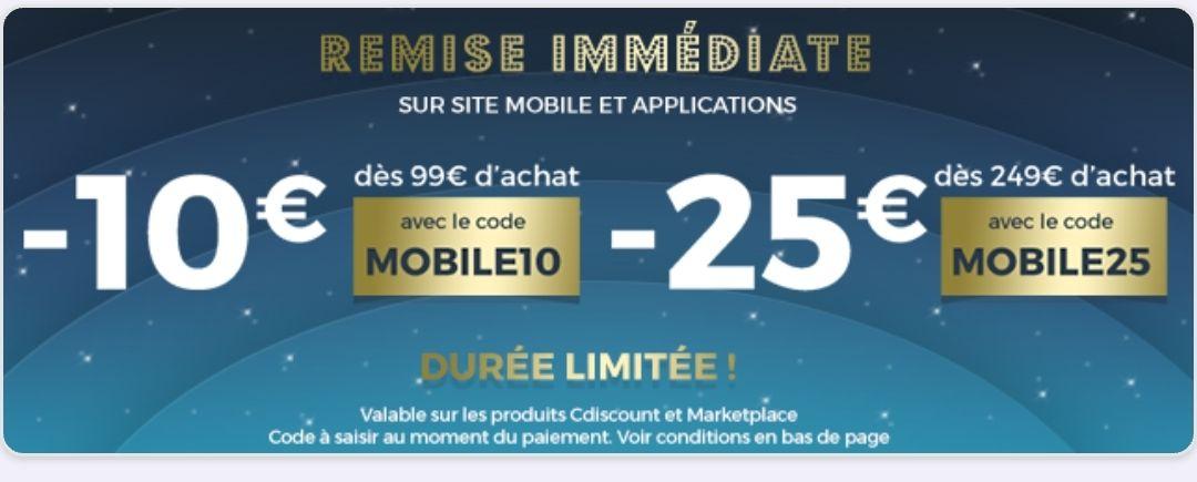 10€ descuento en compras superiores a 99 y 25€ en compras de 249 en cdiscount (Switch =284€)