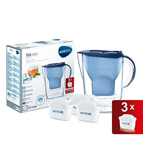Brita Marella Jarra Agua Filtrada con 3 Filtros MAXTRA+, Azul, 2.4 litros