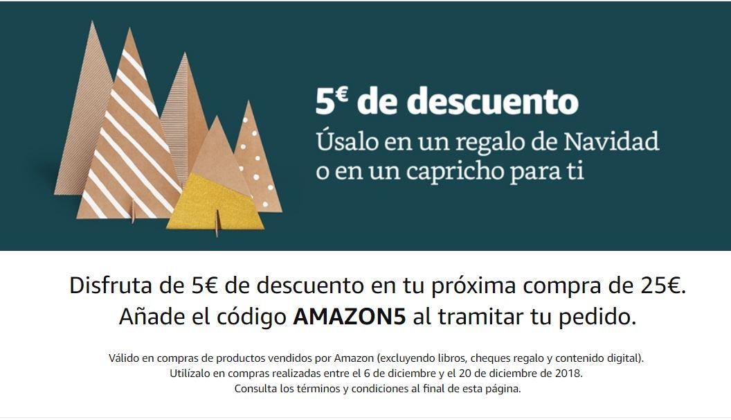 Descuento de 5€ en Amazon por compras de 25€ (sólo válido para ciertas cuentas)