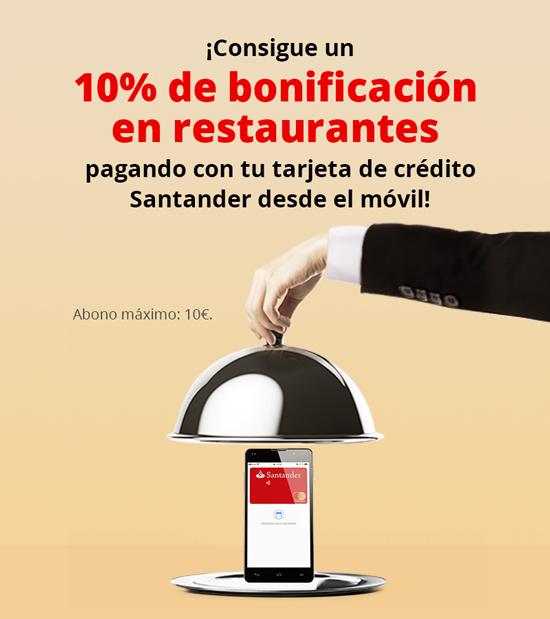 Banco Santander: 10% descuento en restaurantes