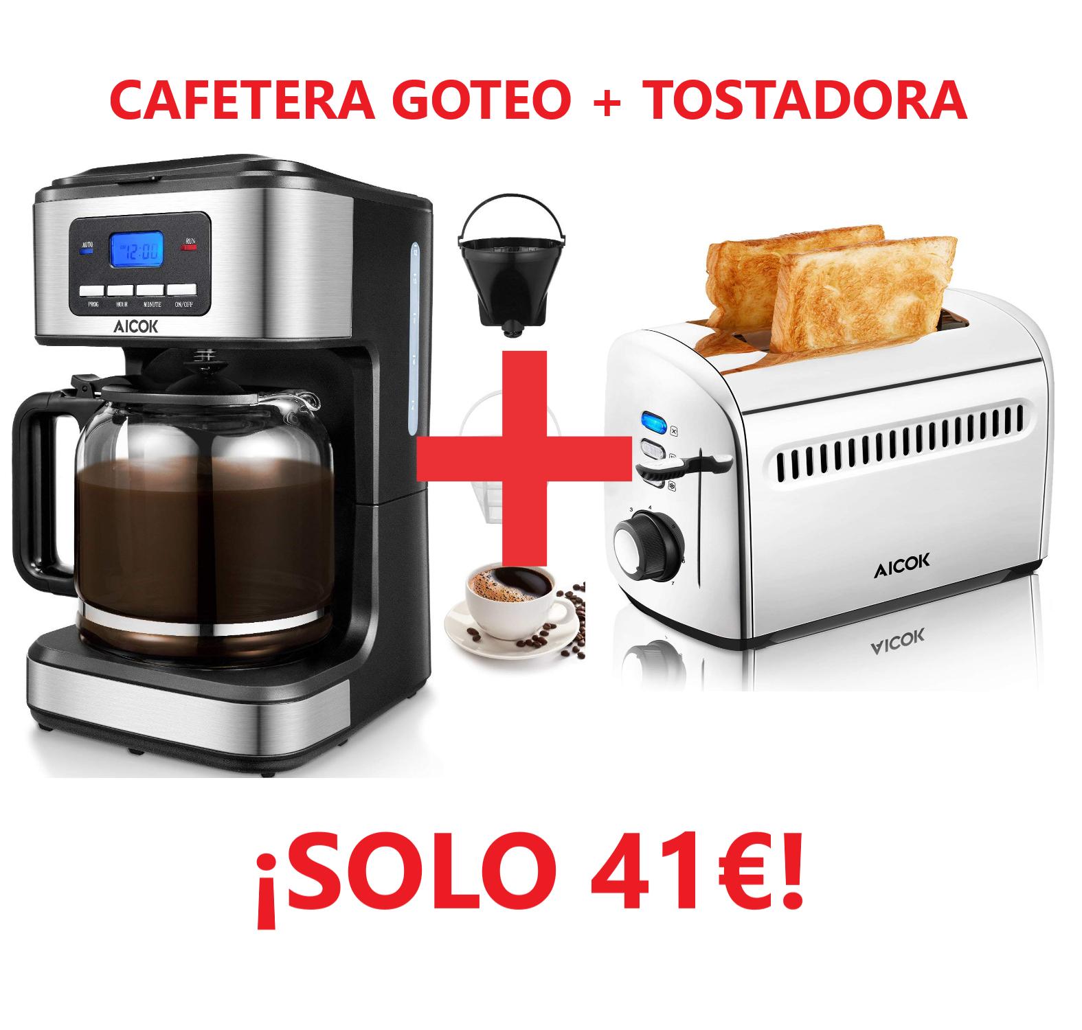 CAFETERA A GOTEO + TOSTADORA AICOK POR SÓLO 41€