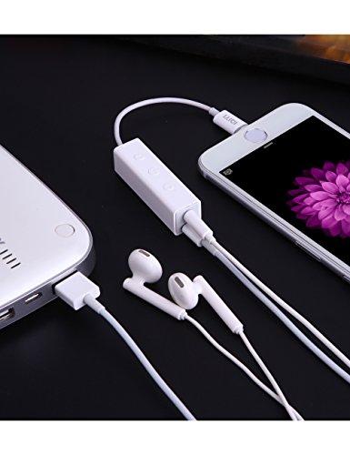 Adaptador de iluminación [Certificado MFi],2 en 1 Lightning al cargador y adaptador de auriculares Aux de 3.5 mm con micrófono