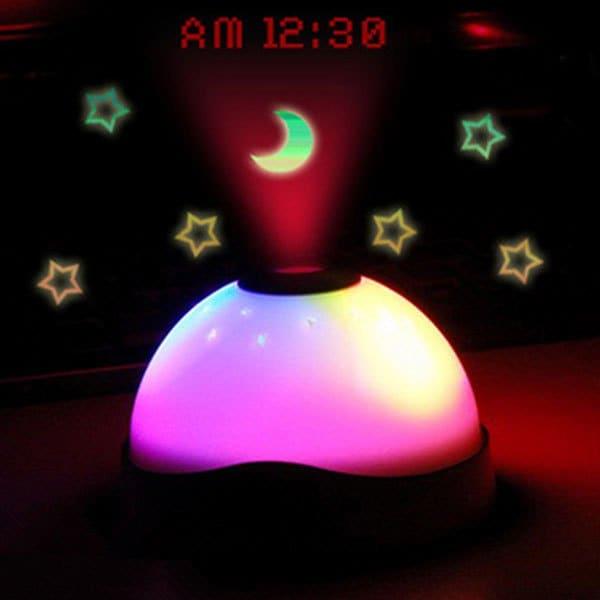 Despertador con luz LED RGB y proyector