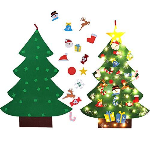 Árbol de Navidad en Fieltro, 26 adornos + Luces + Guirnalda decorativa